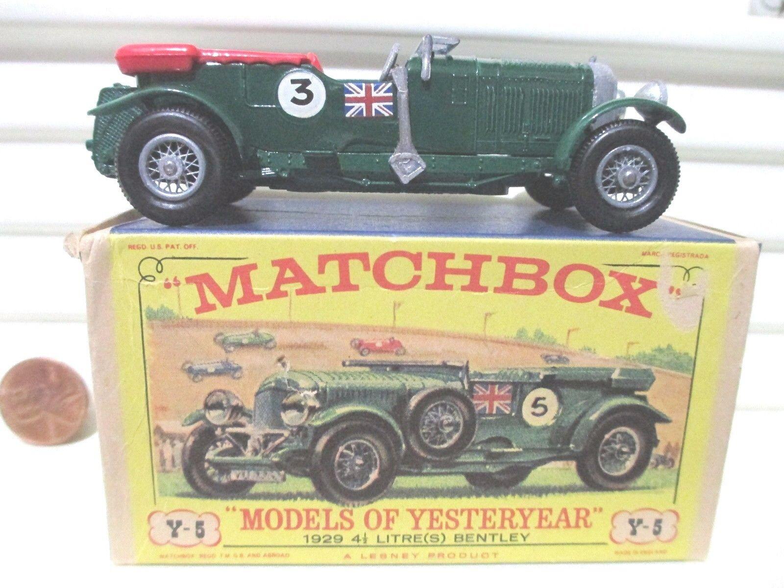 Matchbox 1968 antaño Y5 verde 1929 4.5 Litro Bentley calcomanías  D  PLACA BASE