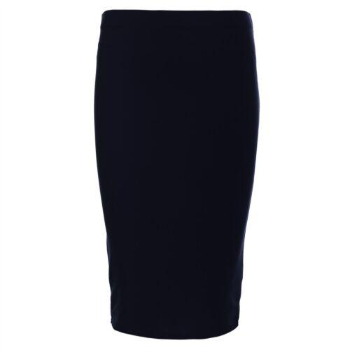 Womens Plain Stretchy High Waist Pencil Bodycon Ladies Pencil Formal Midi Skirt