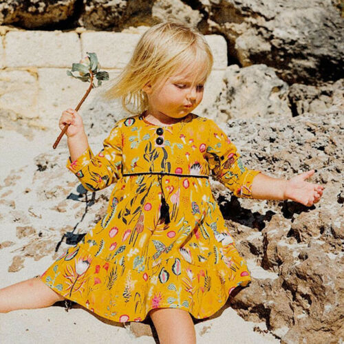 Toddler Infant Baby Girls Kids Autumn Clothes Long Sleeve Party Pageant Dresses