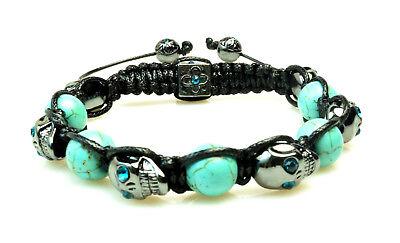 Shamballa Beaded Skull Bracelet Turquoise Crystal Hematite NEW