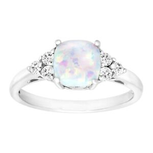 5/8 ct Created Opal & White Topaz Ring in Sterling Silver