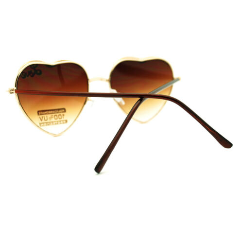 Womens Valentine Heart Shape Metal Frame Sunglasses with Love Signature Lash