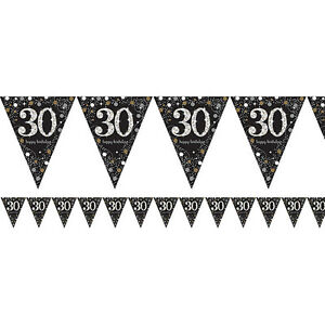 Image Is Loading 30th Birthday Pennant Flag Banner Black Silver Gold