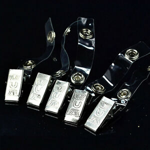 10x-ID-Badge-Lanyard-Key-Card-Holder-Metal-Badge-Name-Tag-Lanyard-Clip-EE-T-yb