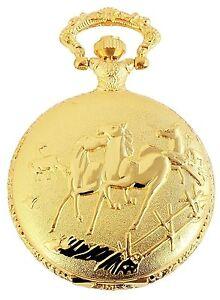 Taschenuhr-Weiss-Gold-Pferde-Analog-Quarz-Herrenuhr-D-50742408732299