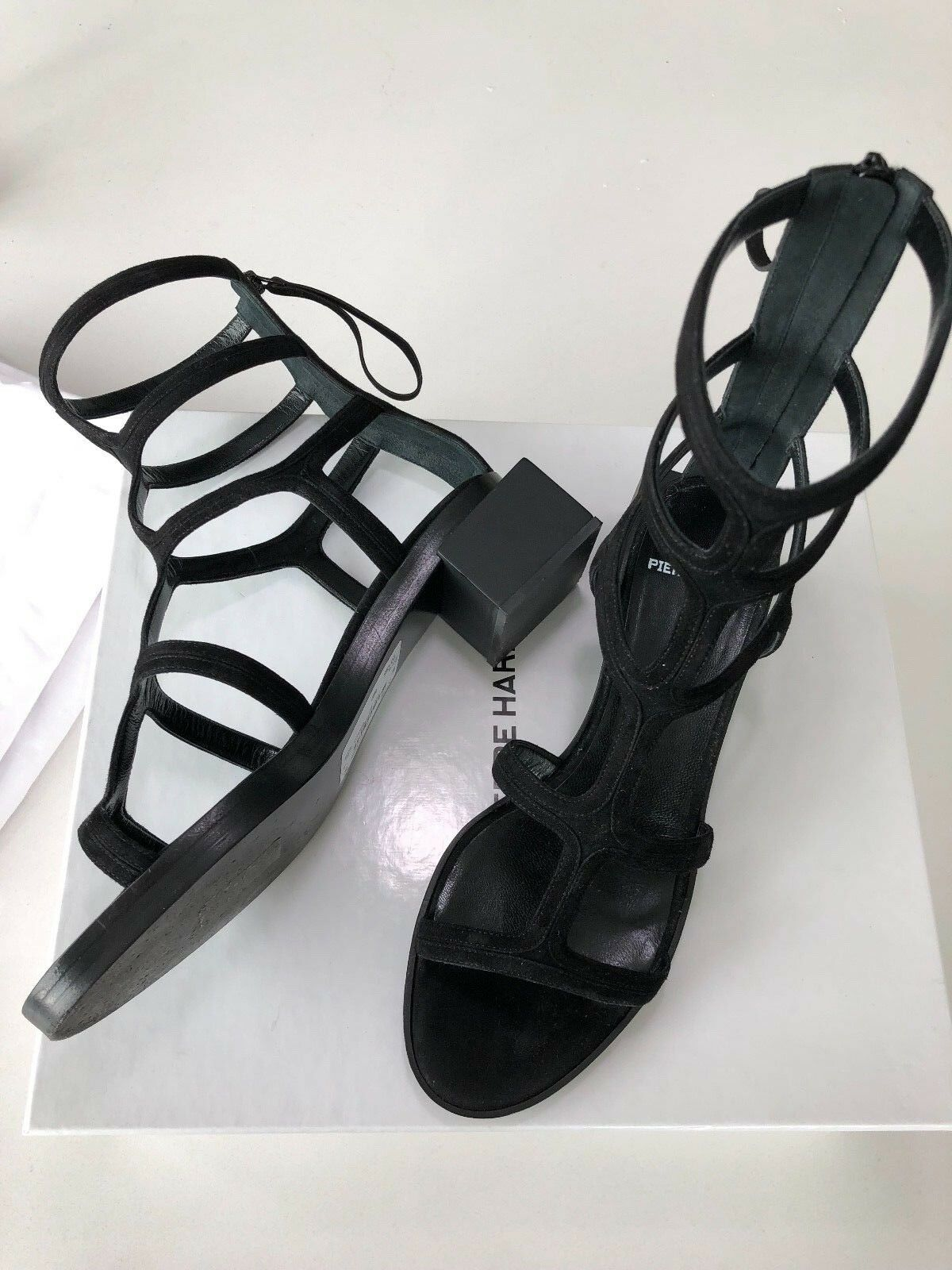 Pre-owned  PIERRE HARDY Black Suede Block Heel Cut Out Sandals Gladiator Sz 38