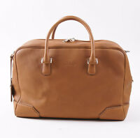 $5275 Brioni Rich Tan Soft Grained Leather Carryall Overnight Duffle Bag