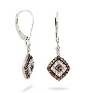 10K-White-Gold-Chocolate-Brown-amp-white-Diamond-Earrings-Leverback-Dangles-50ct