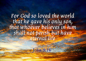 Christian Poster John 316 For God So Loved The World Quality