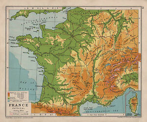 1928 MAP ~ FRANCE PHYSICAL ~ HEIGHTS & DEPTHS | eBay