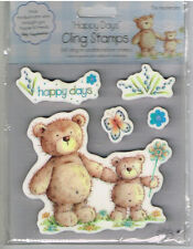 BIG TED, LITTLE TED, BUTTERFLY, FLOWERS & WORD CLING STAMP SET-  5 STAMPS