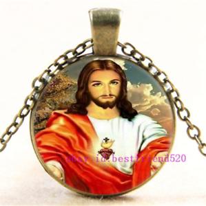 Photo Cabochon Glass Silver popular Chain Pendants Necklace(Jesus Heart)