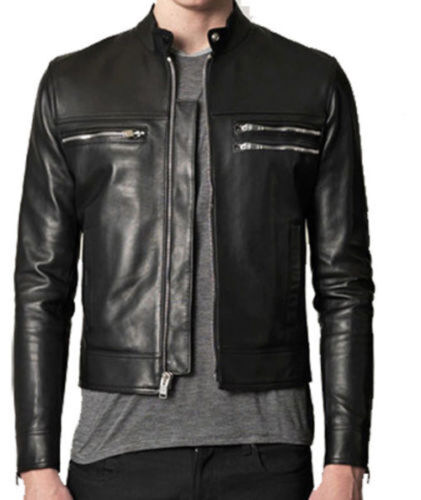 ★Giacca Giubbotto Uomo in PELLE 100/% Men Leather Jacket Veste Homme Cuir R37a