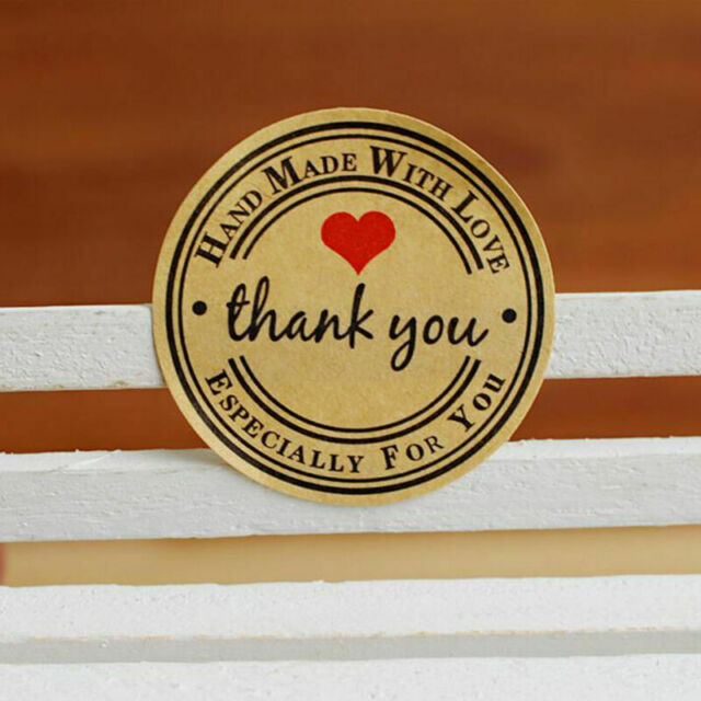 Round Paper Labels 'Thank you, Hand with love' Gift Food Craft Stickers E6A1