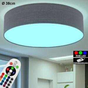 LED Decken Lampe Stoff Weiß RGB Fernbedienung Wohn-Zimmer Textil Leuchte DIMMBAR