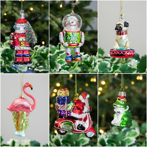 image is loading santa robot christmas decorations baubles gisela graham bauble - Glass Christmas Decorations