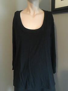 MUST-SEE-J-JILL-STRETCH-SOLID-BLACK-3-4-SLEEVE-BLOUSE-SZ-LARGE