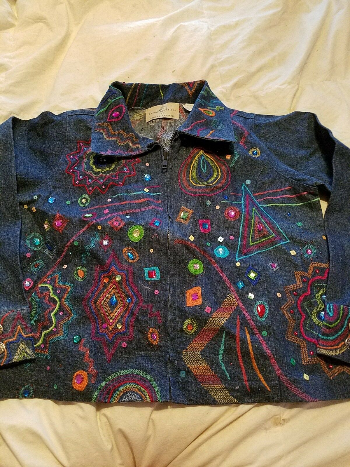Design Options cristal couleur brodé strass zip Denim Veste en Jean neuf avec étiquettes m