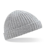60d2af5fd26 Beechfield Unisex Chunky Knit Beanie Winter Hat trawler fisherman retro  hipster