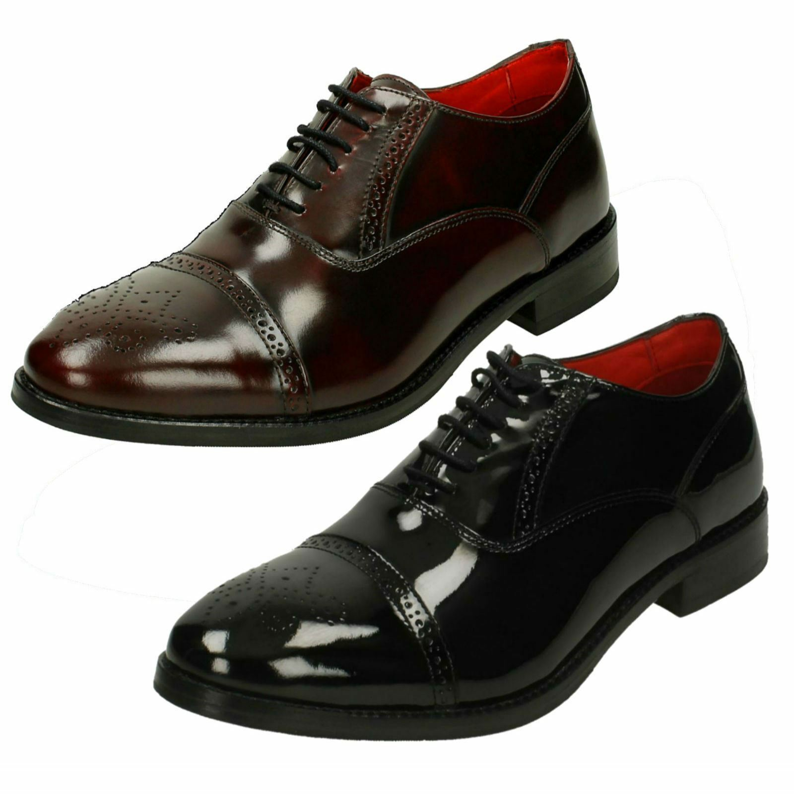 herren Base London Noel Hi Shine Leather Brogue Lace Up schuhe