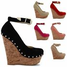 NEW LADIES HIGH HEEL WEDGE CORK STUDDED ANKLE STRAPPY COURT SANDALS SIZES UK 3-8