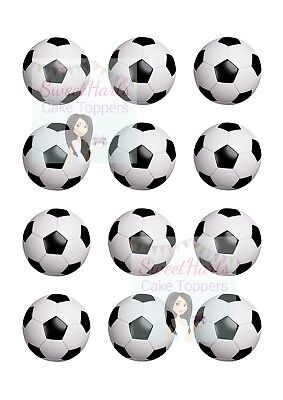 FOOTBALLS CUPCAKE TOPPERS X12 EDIBLE FAIRY CAKE DECORATIONS