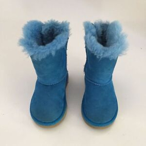 d5a1b10ac52 Details about Girls UGG Australia Bailey Bow Boots Toddler 7 Blue Shoes  Snow Warm Furry UGGS
