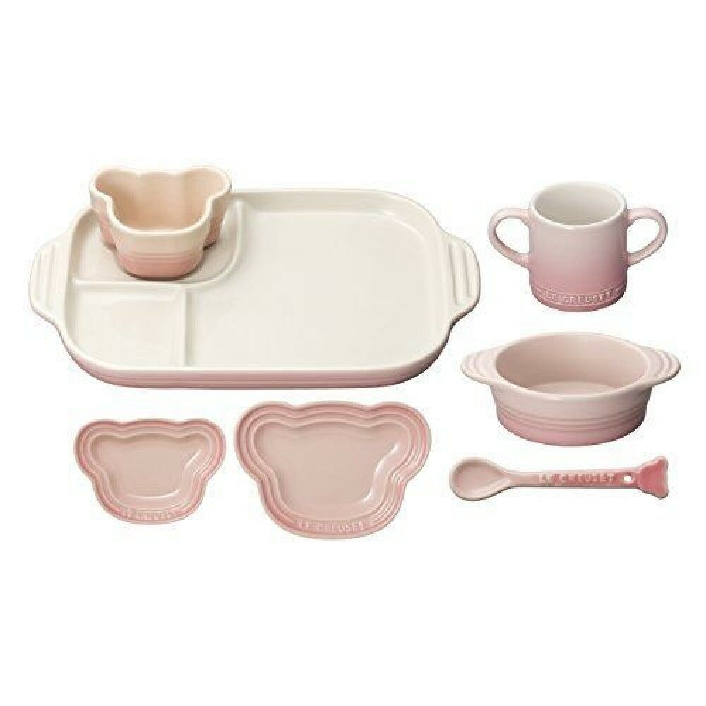 Le Creuset Bébé Vaisselle Vaisselle Set résistant à la chaleur Milky rose from Japan NEW