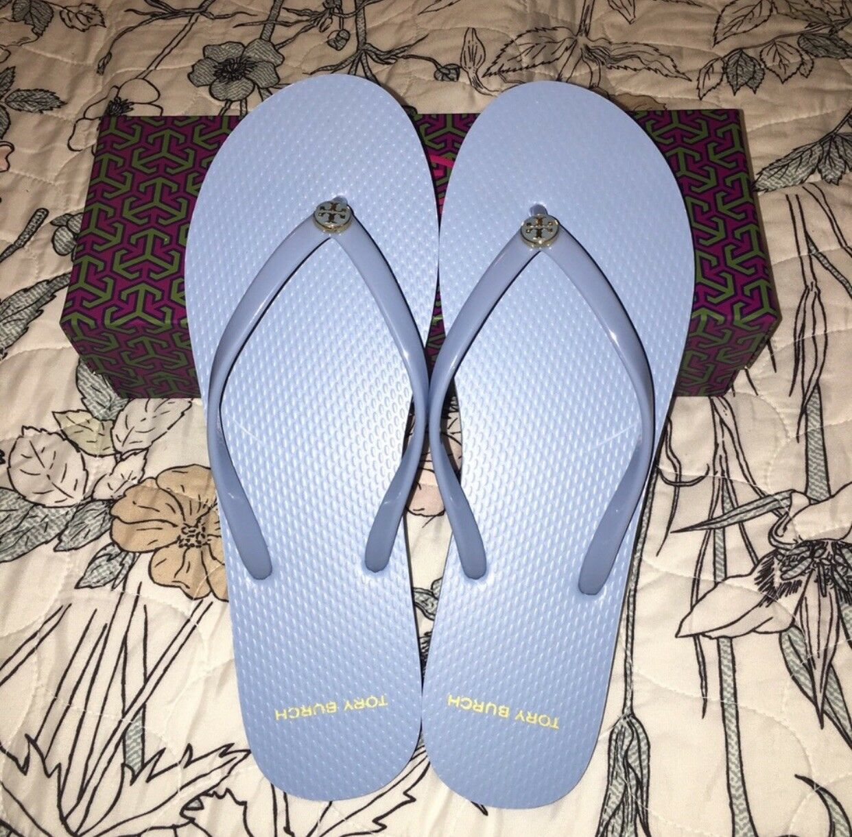 Tory Burch Thin Flip Flop, sólido en azul claro, (11)