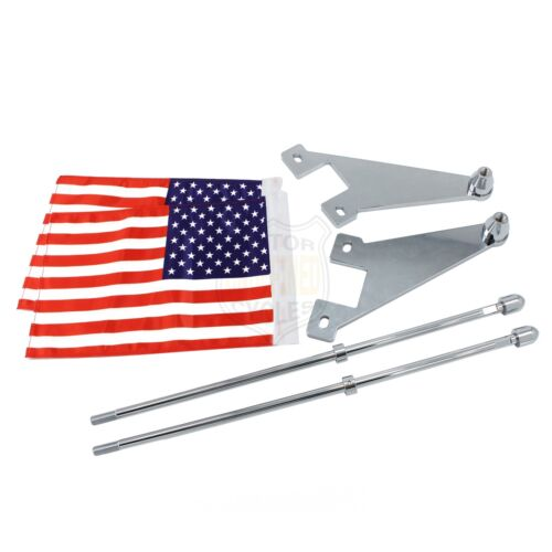 2pcs Motorcycle America USA Flag Pole Exhaust Pipe Mount Universal For Harley
