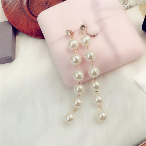 Largo borla Brillante Estrás Perlas de Imitación Pendientes para aniversario uno