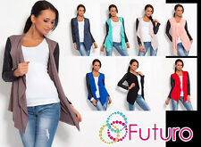 Elegant & Sensible Women's Cardigan Jacket Style Eco Leather Sleeve New 8079