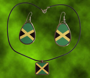 Jamaica-Square-Pendant-with-Cord-amp-Teardrop-hanging-earrings