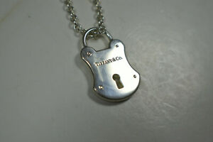 Vintage Tiffany & Co. Large Silver Padlock Arc Lock Heavy Rolo Chain Necklace