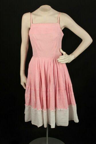 VTG Women's 50s Pink & White Gingham Sundress Sz X