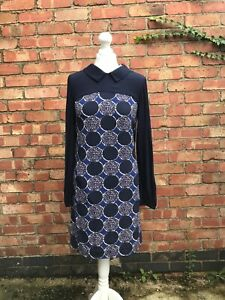 Boden-Navy-Blue-Tunic-Dress-Size-6-Polka-Dot-Long-Sleeves-Collared-B11