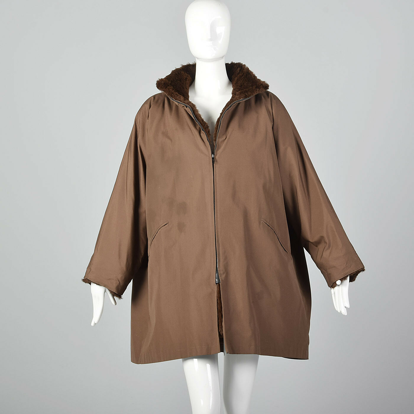 XXL 1980s Brown Oversized Swing Coat Fur Lined VTG 1980s Removable Lining Jacket