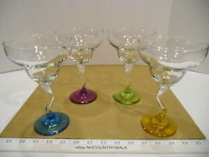 Margarita-Glasses-with-Bent-Stem-and-Colored-Bases-EUC