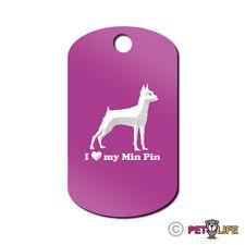 I Love My Miniature Pinscher Engraved Keychain GI Tag dog Min Pin Profile