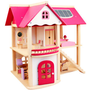 Easy-Assembly-Wooden-Dolls-House-My-Little-Pink-Villa-With-4-Sets-of-Furniture