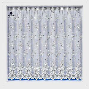 """Brillant Blanc Floral Diana Dentelle Net Curtain 36"""" 40"""" 42"""" Goutte Vendu Par Mètre-afficher Le Titre D'origine Vz8kbciq-07174609-685417032"""