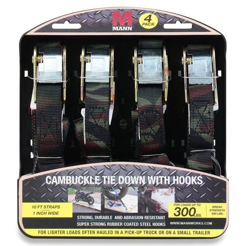 """4-Pack 1/""""x10 Cam Boucle Ratchet Tie Down Straps Set Avec Caoutchouc Enduit Crochets Camo"""