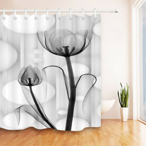 Image Is Loading 72X72 034 Abstract Translucent Black Flower Shower Curtain