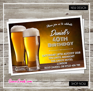 personalised birthday invitations beer party invites for 60th 30th