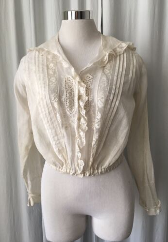 Antique Victorian embroidered blouse with elastic