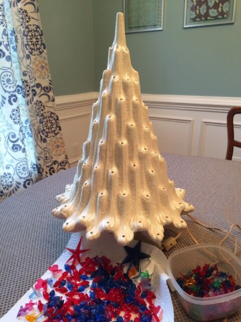 Atlantic Mold Ceramic Christmas Tree 22 Inch w/ Base White Iridescent - Christmas-Tree Collection On EBay!