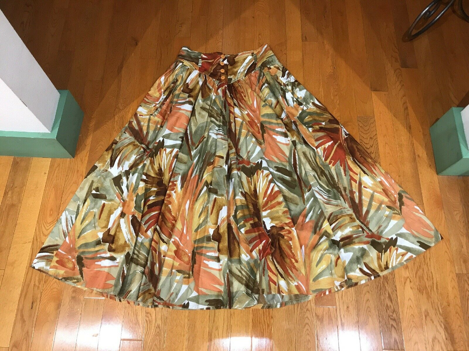 MAGNIFICENT  VINTAGE ESCADA PAINTERLY BRUSH STROKE PRINT COTTON FULL SKIRT 36 4