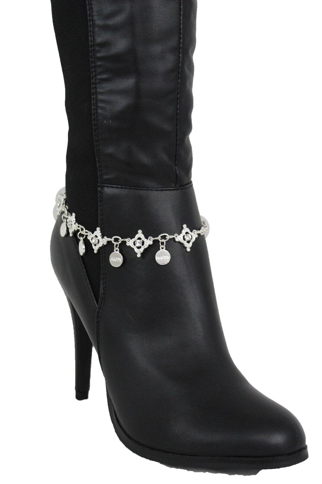 Fun Women Silver Boot Beacelet Chain Bling Fashion Shoe Charm Happy Bling Phrase