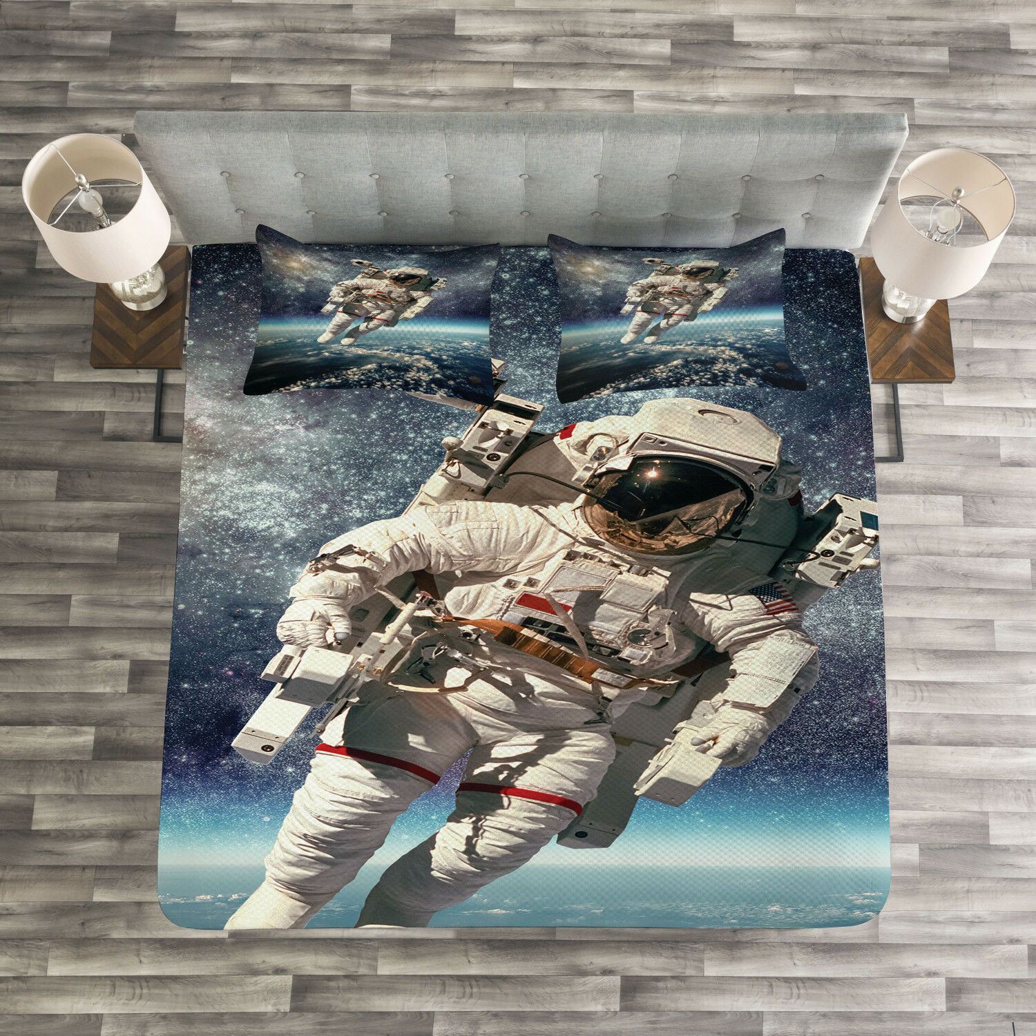 Galaxy Quilted Bedspread & Pillow Shams Set, Astronaut in Outer Space Print