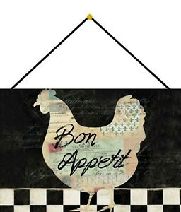 Bon-Appetit-Chicken-Tin-Sign-Shield-with-Cord-Tin-Sign-7-7-8x11-13-16in-FA0205-K